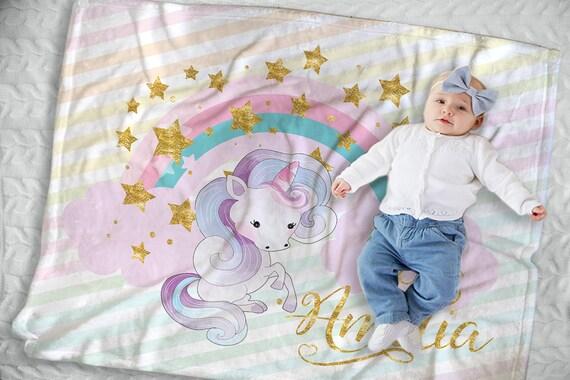 Unicorn Baby Blanket Unicorn Nursery Decor Unicorn Baby