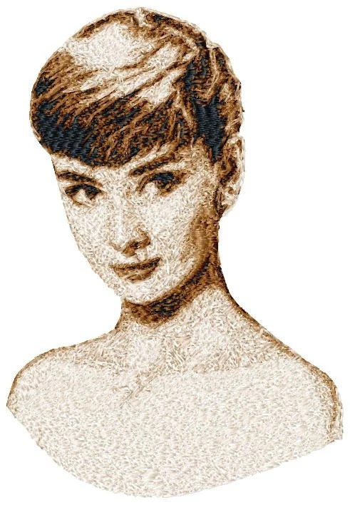 BIG hoop photorealistic AUDREY Hepburn close up Machine Embroidery Design File, digital download