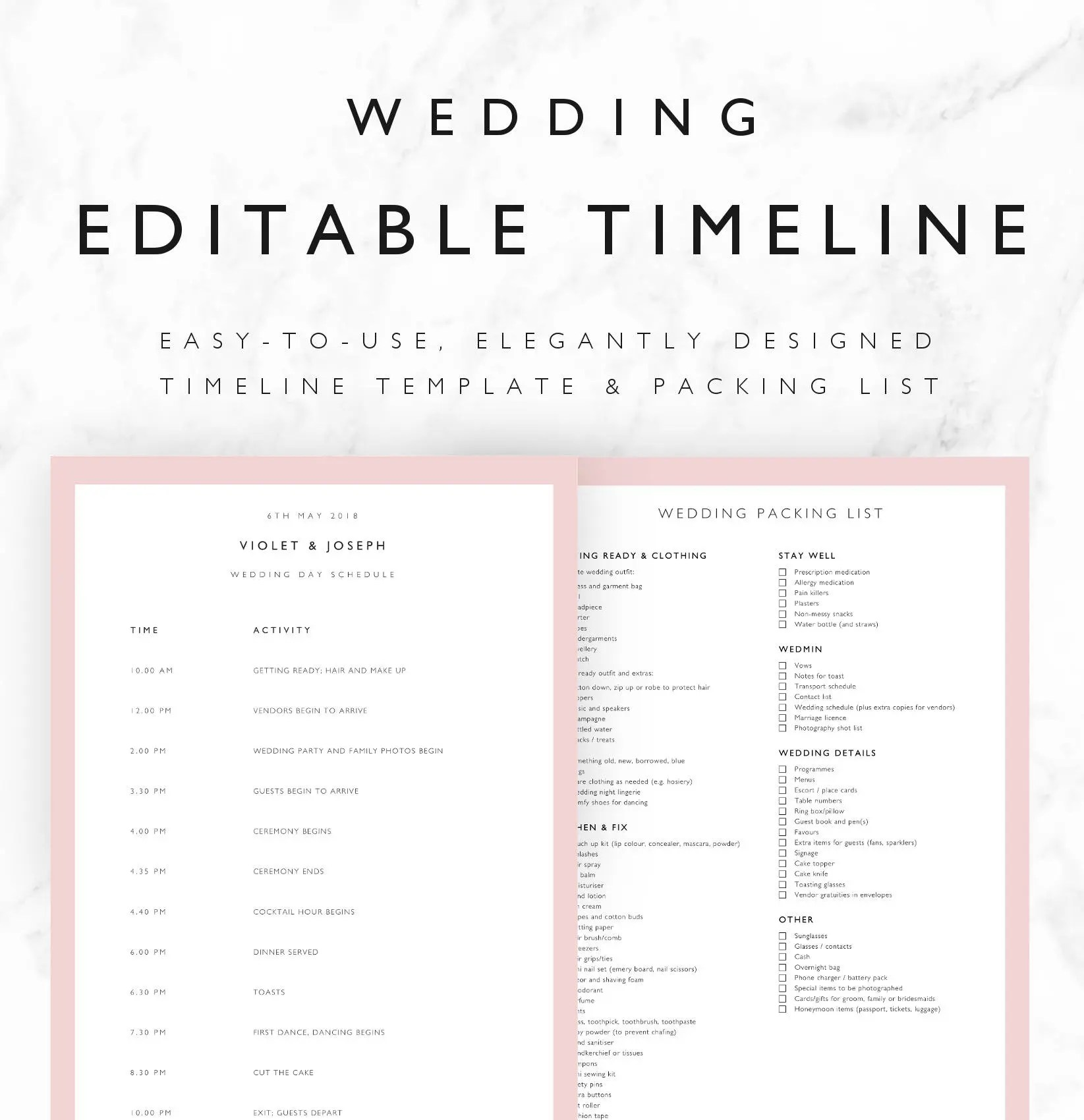 Violet Wedding Timeline Template Minimal Bridal Wedding Day
