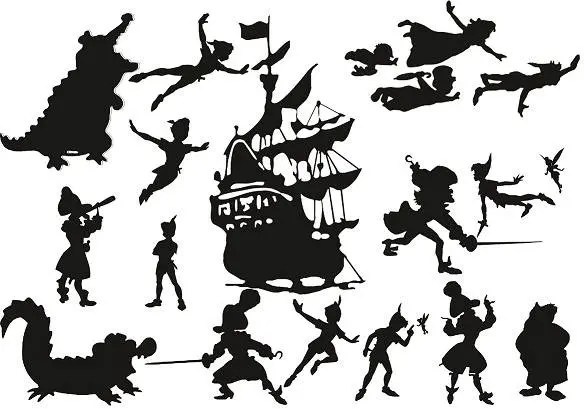 Peter Pan and Tinkerbell Die Cut Out Silhouettes Hook Ship