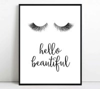 Eyelashes print Eyelash printable art hello beautiful wall art