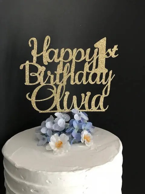 Happy Birthday Cake Topper Custom Birthday Cake Topper