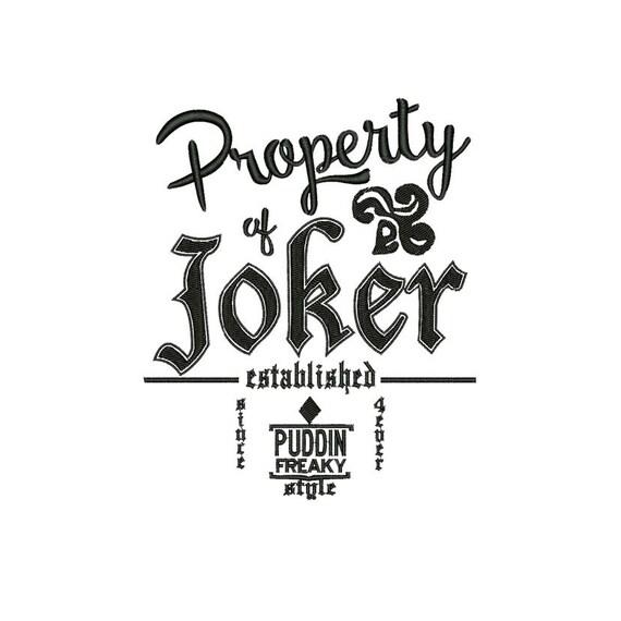 Property of Joker Embroidery design Joker Machine embroidery