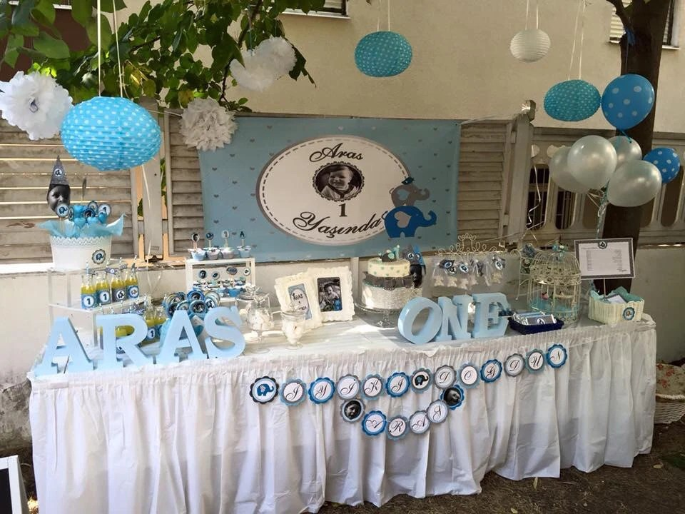 blue and silver elephant baby shower 1st birthday baptism