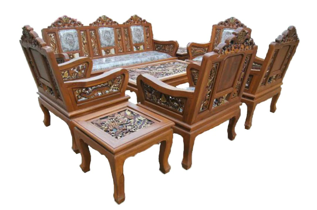 Carved Teak Wood Living Room Furniture Set With Beautiful