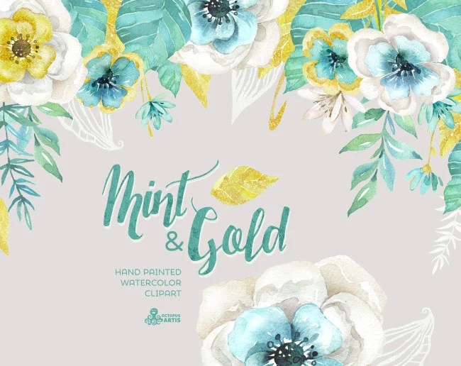 Gold And Teal Wallpaper Quote Mint Amp Gold Watercolor Floral Bouquets And Arrangement