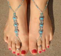 Ankle Slave Bracelets with Toe Ring