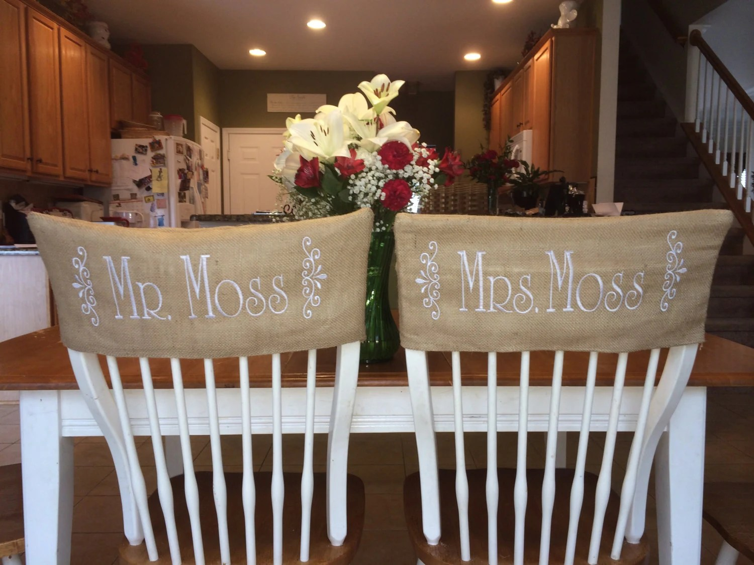 burlap chair covers for folding chairs best desk back pain monogrammed wedding set of 2