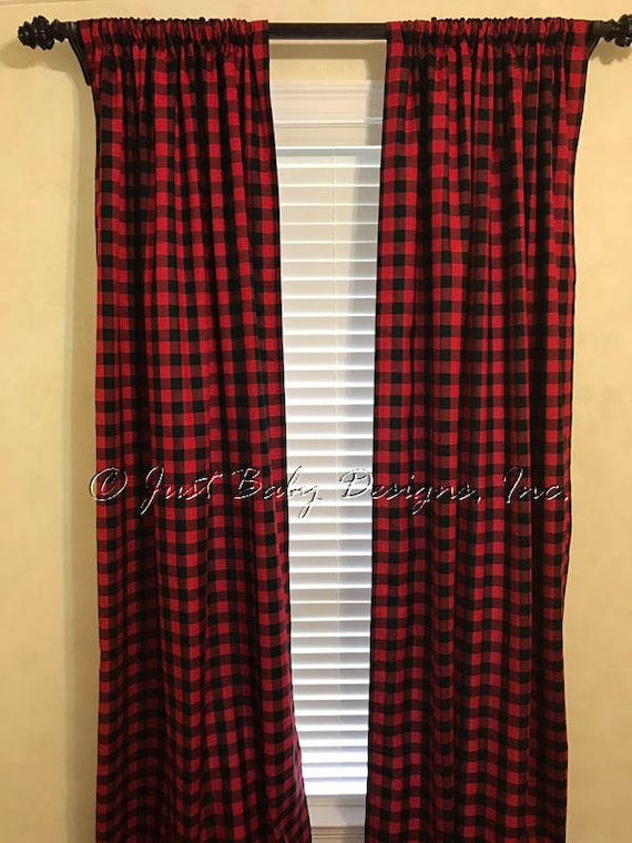 Red and Black Plaid Curtain Panels Red and Black Buffalo