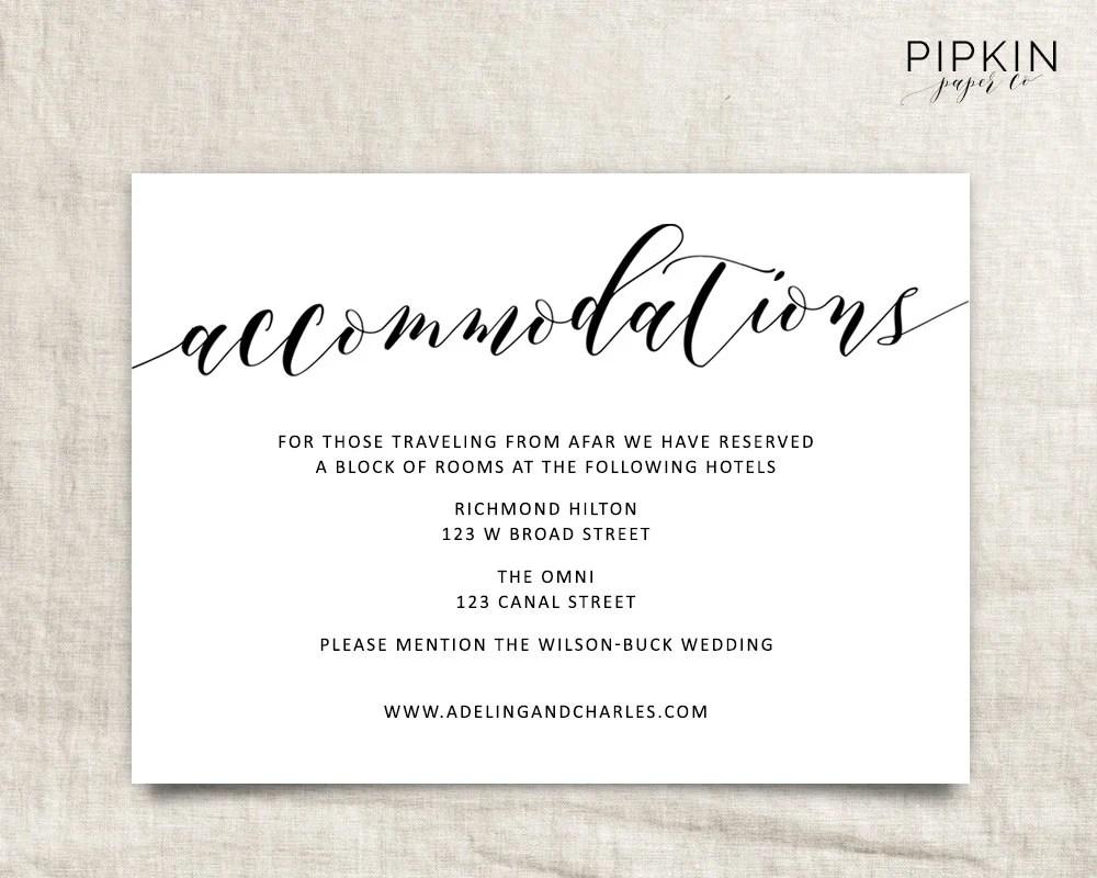 wedding accommodation card template