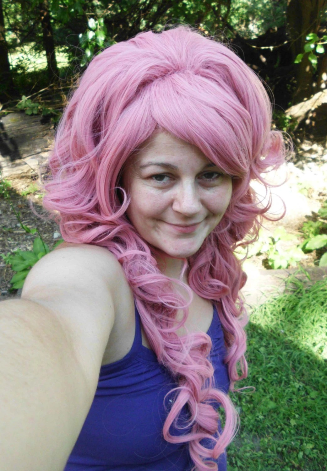 pink wig bump long curly pastel
