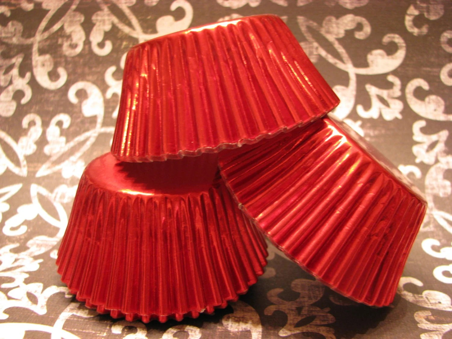 50 Red Foil Baking Cups Red Cupcake Wrappers Red Cupcake