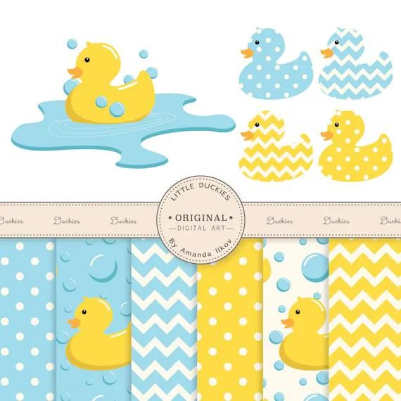 Cute Ducks In Water Wallpaper Premium Rubber Duck Clip Art Amp Digital Paper Set Rubber Duck