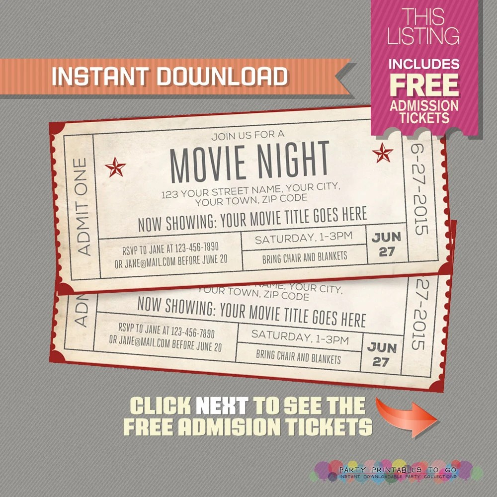 movie ticket invitations free printable - April.onthemarch.co