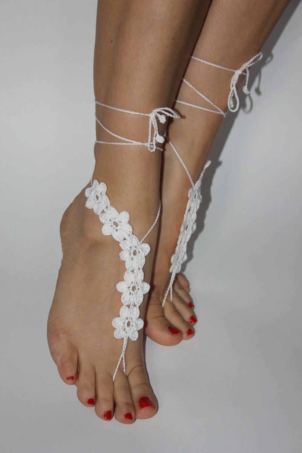 Barefoot Sandals Beach Wedding Shoes White Crochet