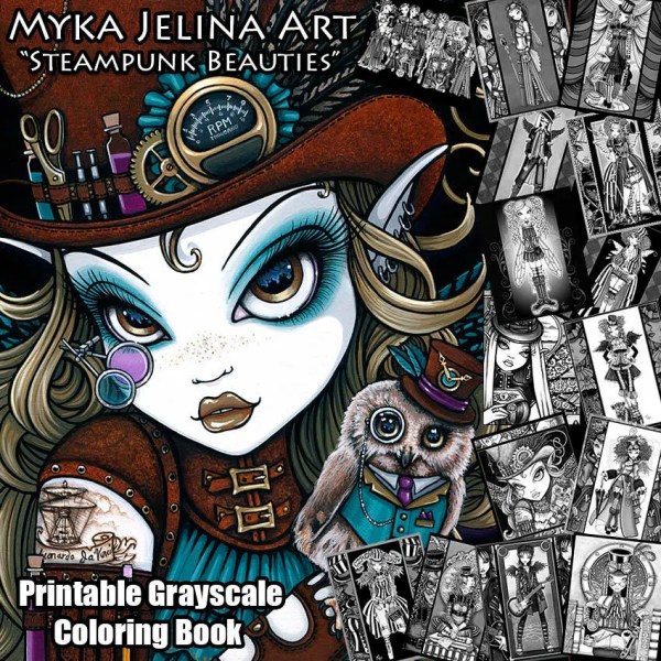 Myka Jelina Steampunk Coloring Book Pages