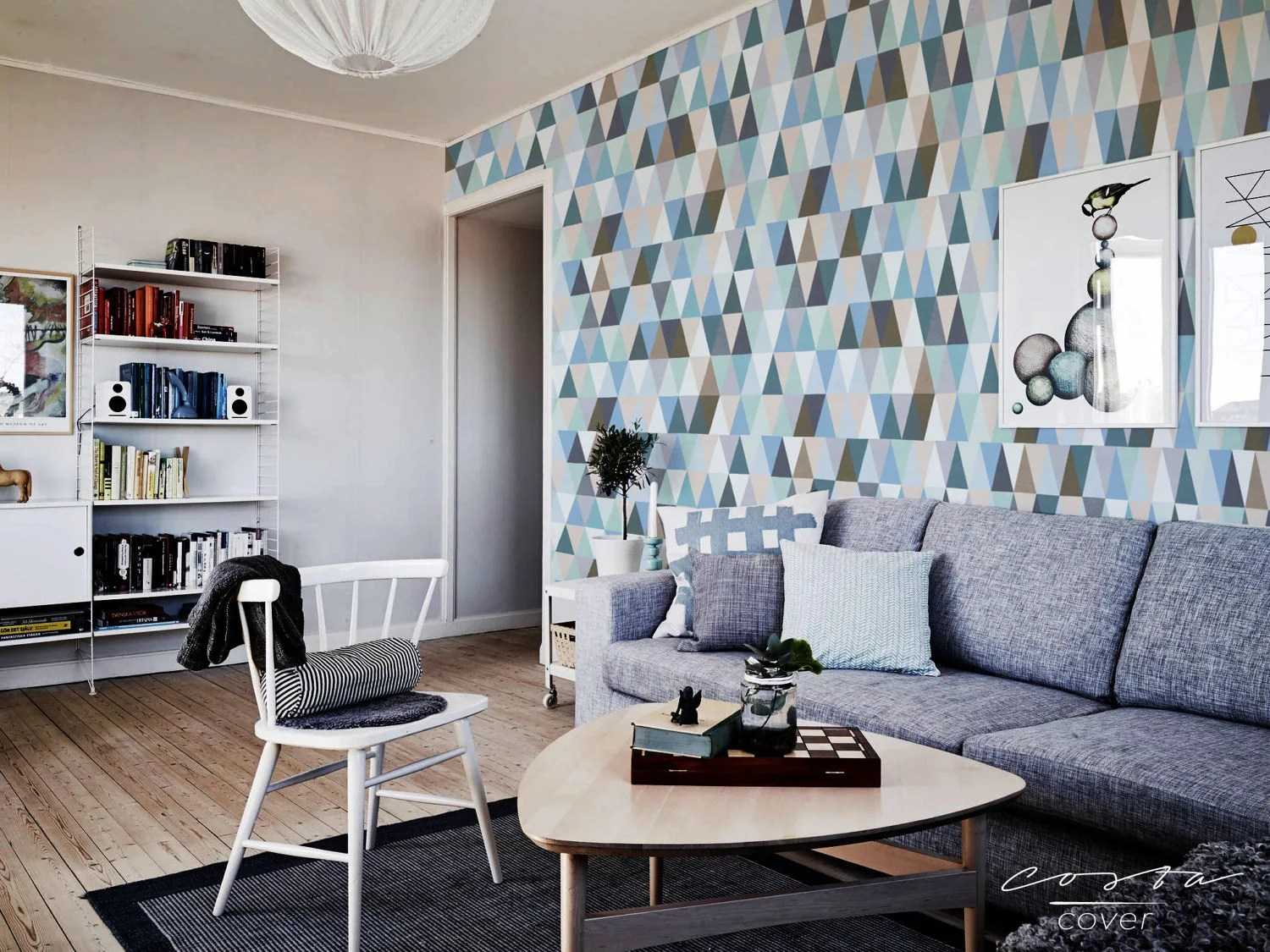 Wallpaper removable for apartment wall hanging Blue Triangle