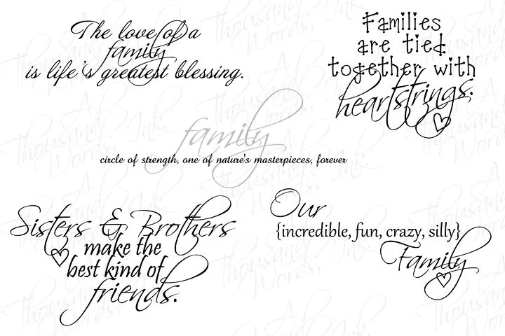 Digital Scrapbook Family-Themed Word Art .png file Photo