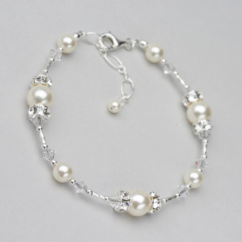 Pearl and Crystal Bracelet Swarovski Wedding Jewelry for the