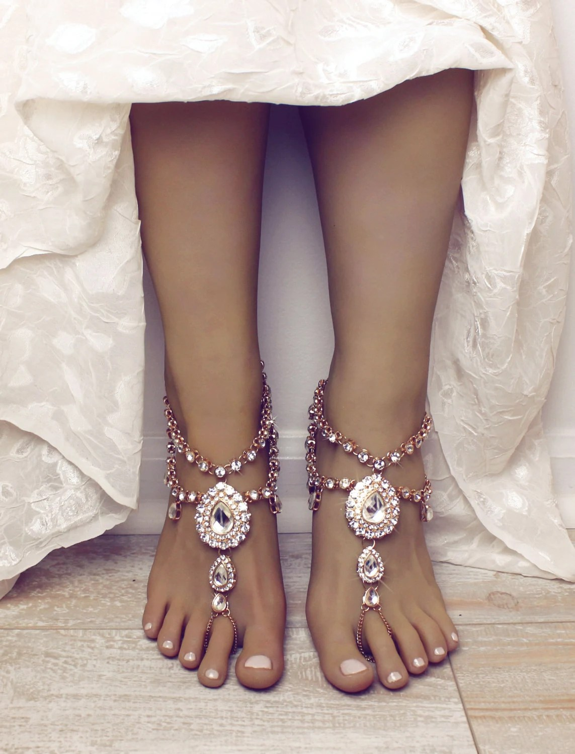 Aida Barefoot Sandals Foot Jewelry Gold