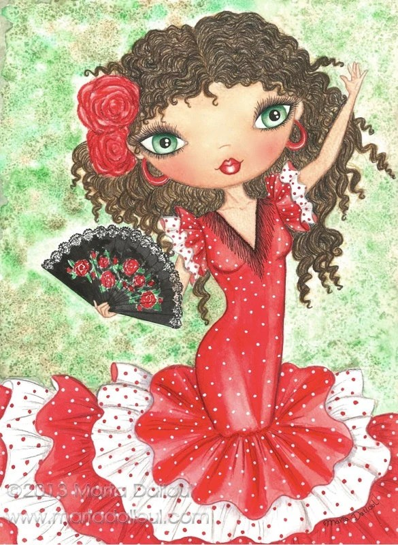 Impresin del arte de la bailarina de flamenco Pintura