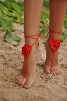 Crochet Barefoot Sandals Red Rose Beach Pool Wear Sexy
