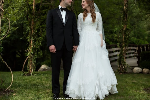 Modest Wedding Dress With Sleeves And French Lace Bodice