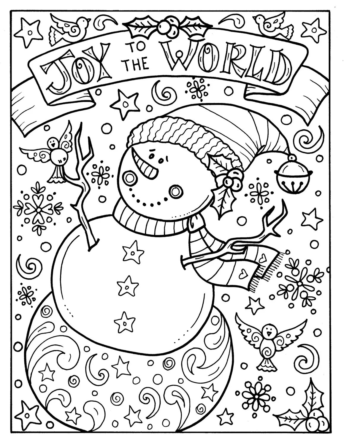 Snowman Joy To The World Digital Download Christmas Coloring