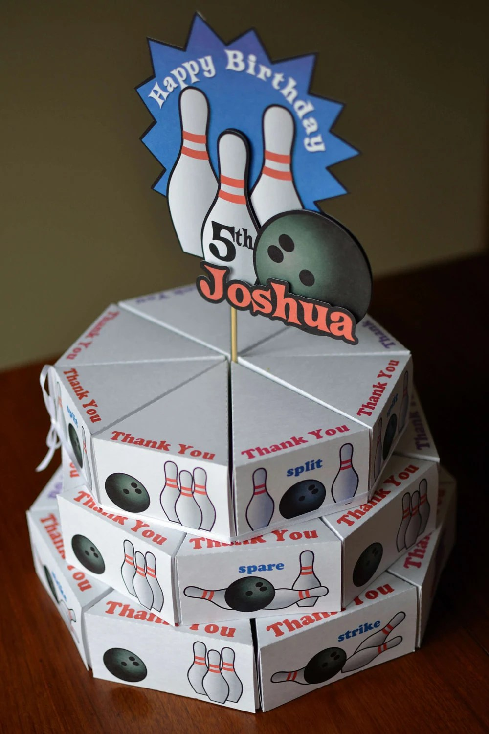 Bowling Party Birthday Cake Party Favors Box With 3 D Cake