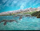 Moonlit whale tails acryl...