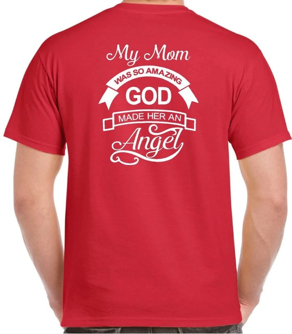 Guardian Angel Wing T Shirts Mom Memorial T-shirt In Loving