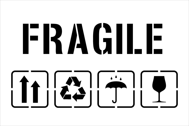 Fragile Symbol FragileTemplate for Laser Cutting-PackagingUp
