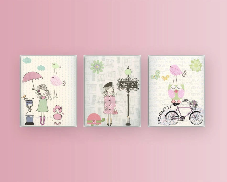 Nursery Wall Art Print Baby Room Decor Baby Girl Paris