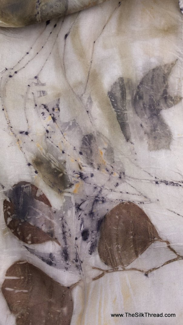 """Lovely Silk Scarf, unique designs & colors imprinted directly from Nature, 8""""x 72"""", Organic, all natural silk art by artist, FREE ship USA"""