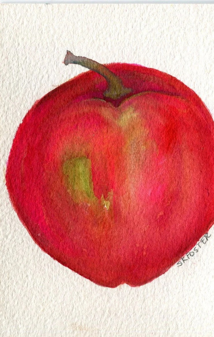 Red Apple Watercolor Painting Apple Wall Art Kitchen Wall ...