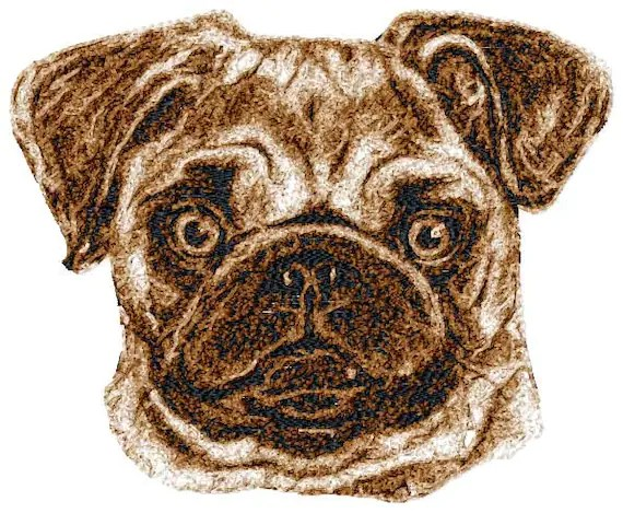 5x7 hoop photorealistic PUG Machine Embroidery Design File, digital download