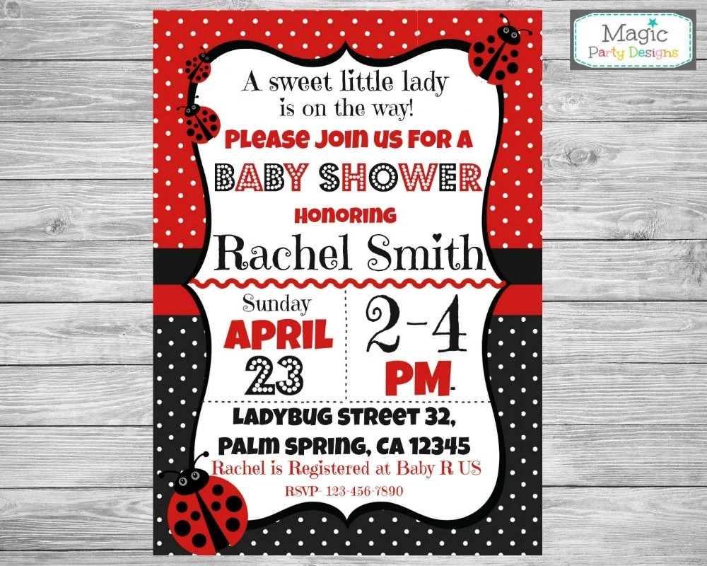 Ladybug Baby Shower Invitations