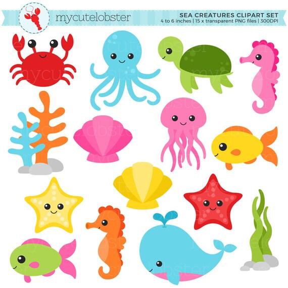 sea creatures clipart set animals
