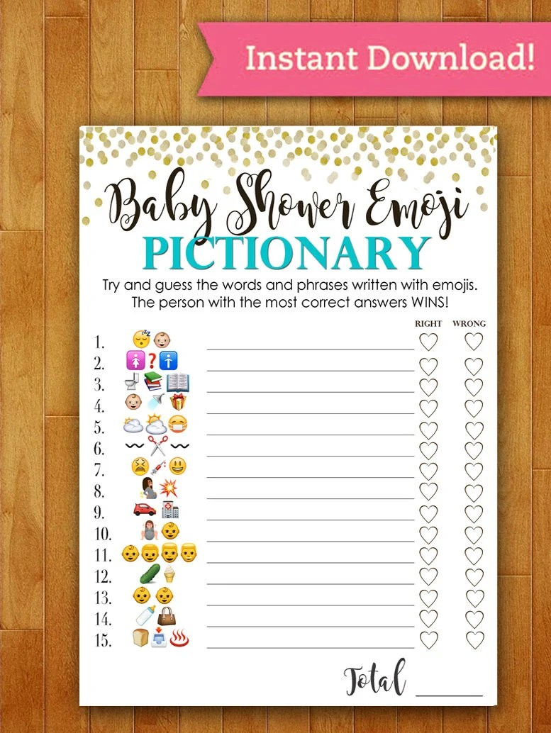 Baby Shower Game Pictionary Emoji Pictionary Teal Mint And