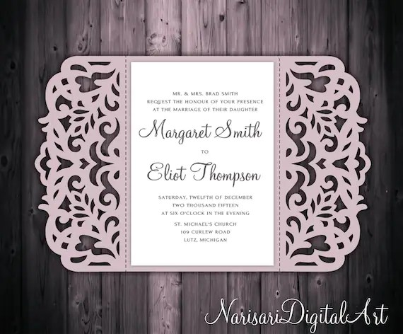 5x7'' Gate Fold Wedding Invitation Card Template Quinceanera