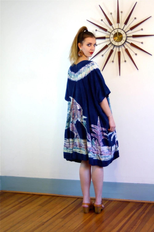 Vintage 70s Tie Dye Kaftan African Dashiki Cotton Hippie