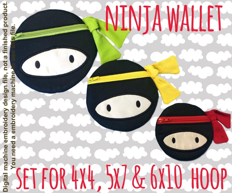 NINJA wallet pouch - SET for the 4x4, 5x7 & 6x10 hoop - ITH - In The Hoop - Machine Embroidery Design File, digital download