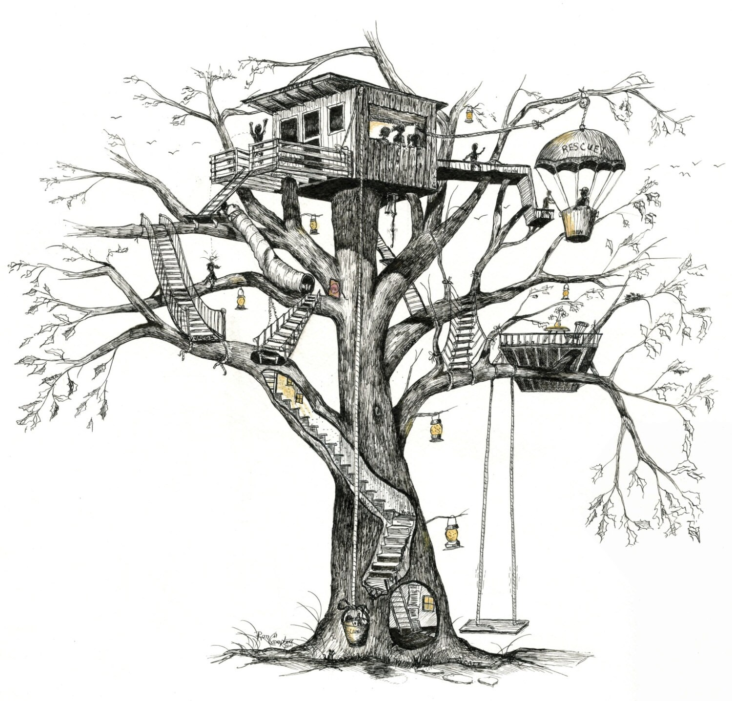 Treehouse Tree House Whimsy Fireflies Pen Amp Ink And
