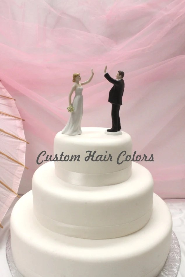 Wedding Cake Topper Personalized Wedding Couple High Five