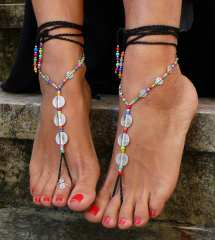 Black Spiral Barefoot Sandals Foot Jewelry Hippie Toe