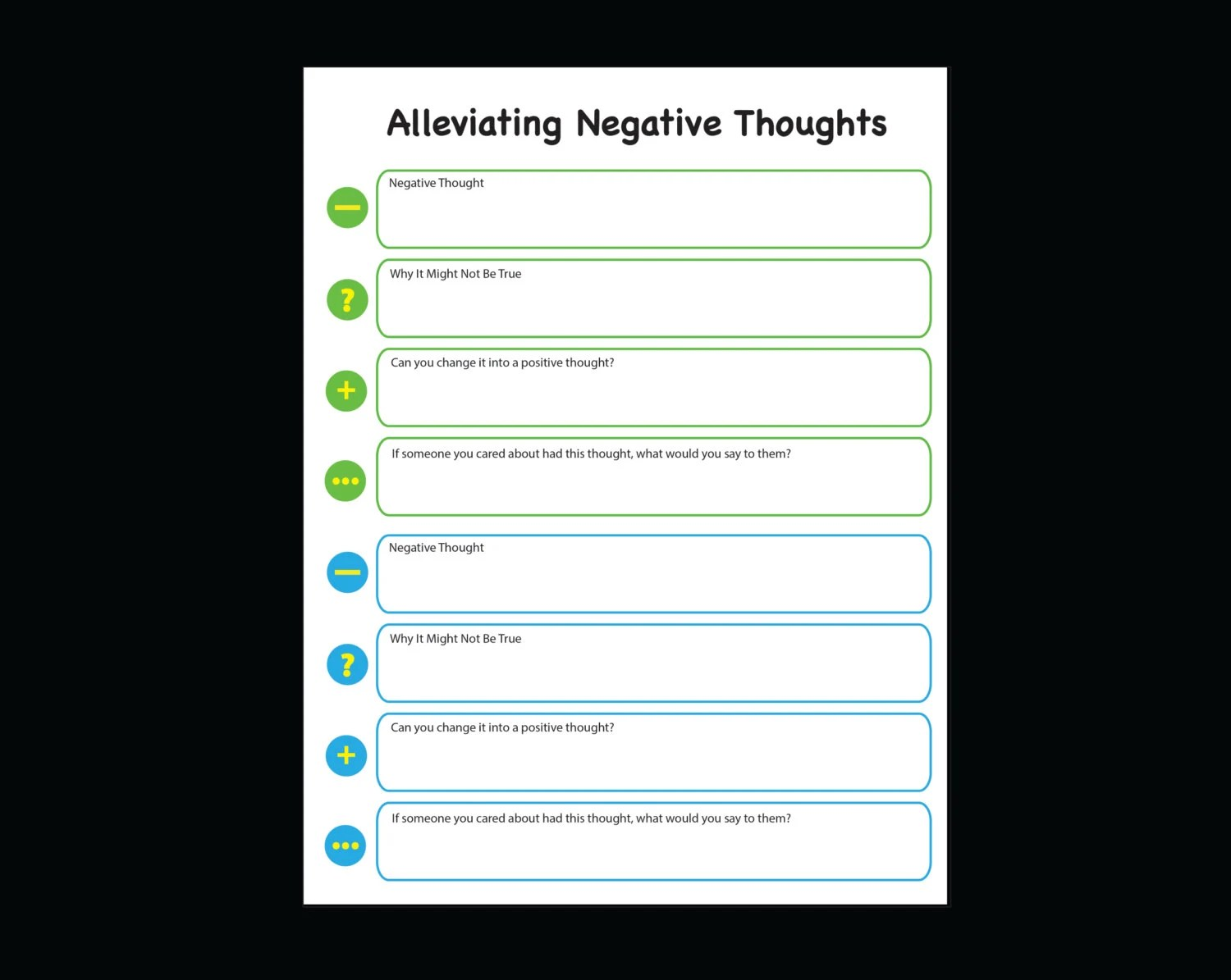 Negative To Positive Thoughts Journal Printable Worksheet