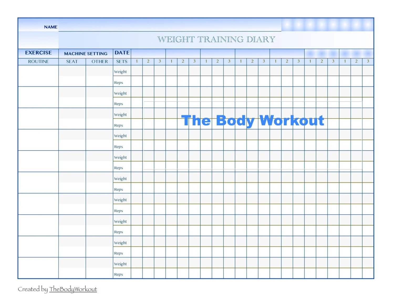 Workout Log Health Planner Weight Training Log Fitness