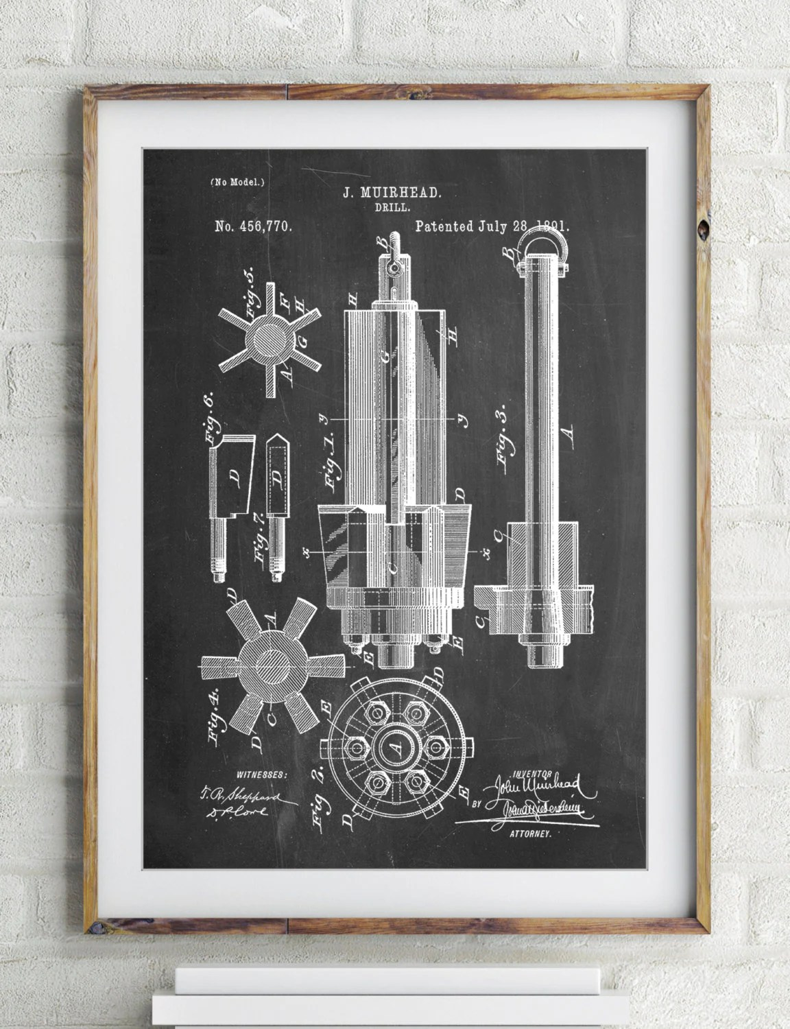 Mining Drill Tool 1891 Patent Poster Coal Manly Wall