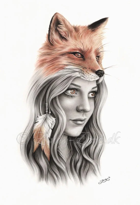 fox girl feather native indian