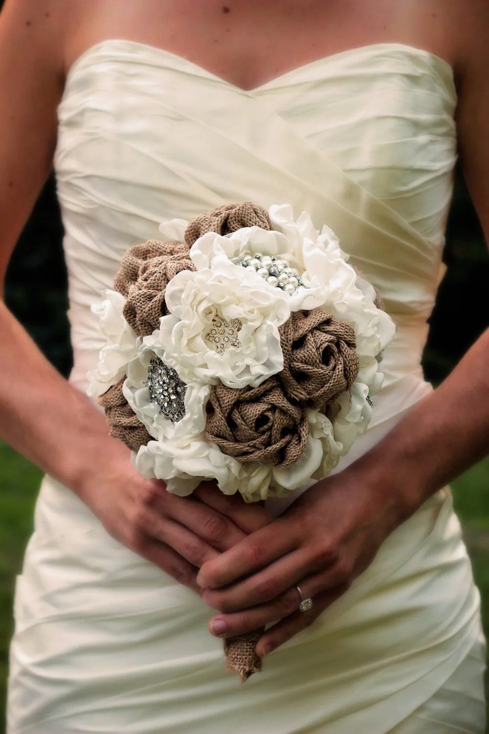 Burlap Wedding Bouquet Rustic Wedding Rustic Wedding